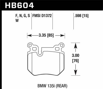 Hawk Performance - Hawk Performance HB604S.598 HT-10 Disc Brake Pad Fits 08-13 135i 135is