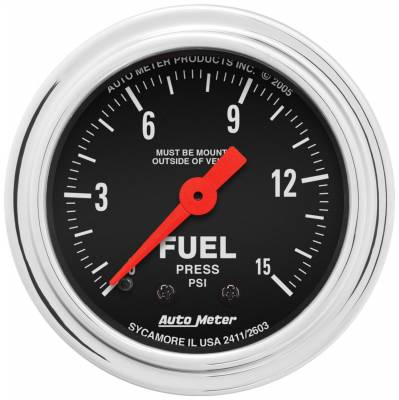 AutoMeter - AutoMeter 2411 Traditional Chrome Mechanical Fuel Pressure Gauge