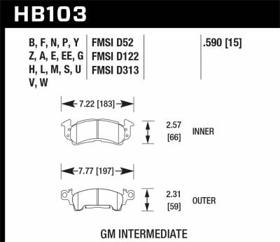 Hawk Performance - Hawk Performance HB103G.590 DTC-60 Disc Brake Pad